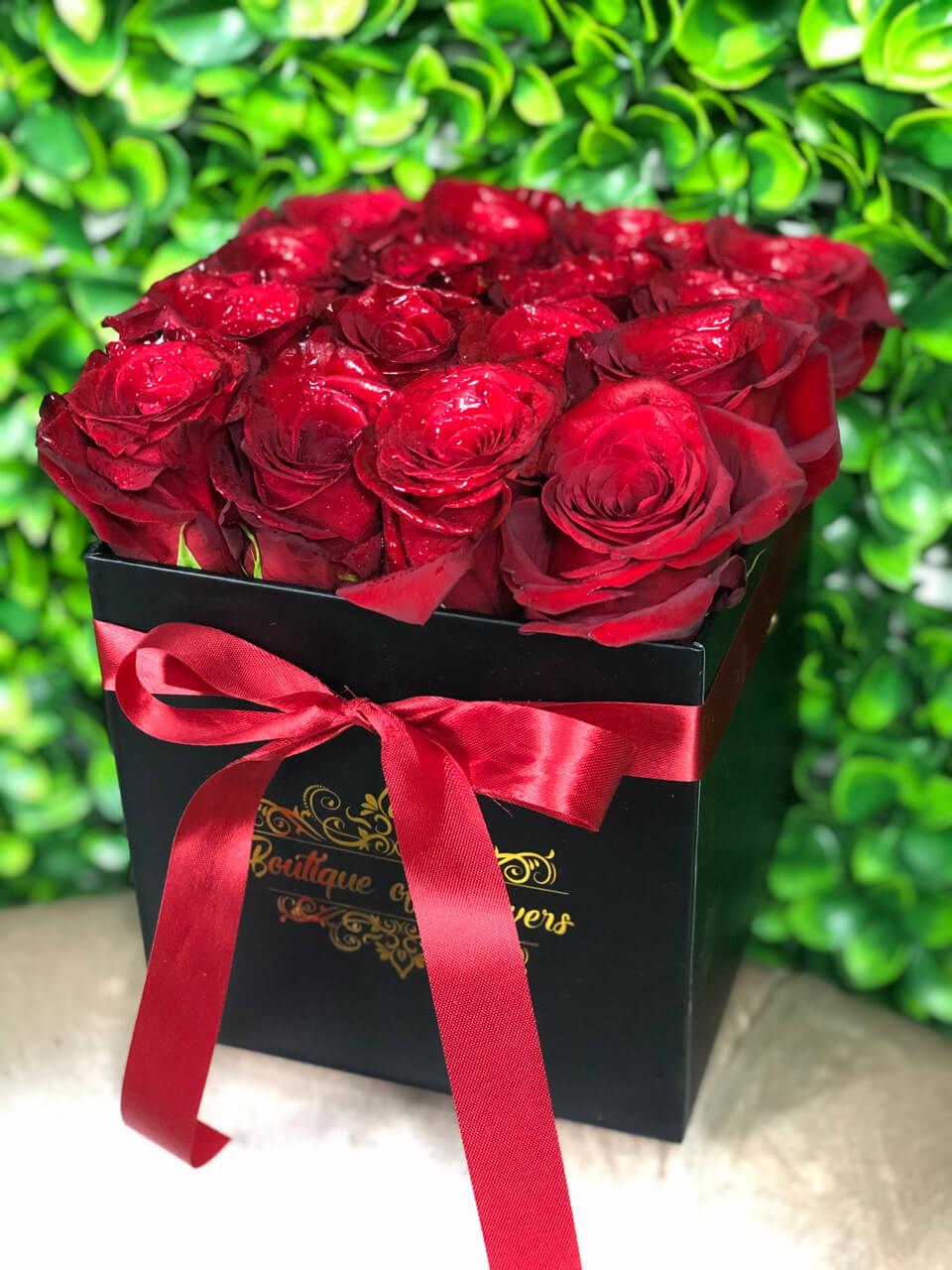 Red rose small black square box